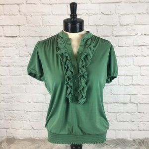 Worthington Green Ruffle Blouse Size L